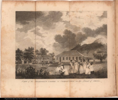 View of the Methodist chapel in Charlestown in the Island of Nevis.