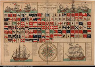 Tableau de tous les pavillons que lon arbore sur les vaisseaux Dans les Quatre Parties du Monde ...