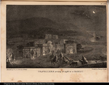 Travellers arriving at night in a Hamlet.