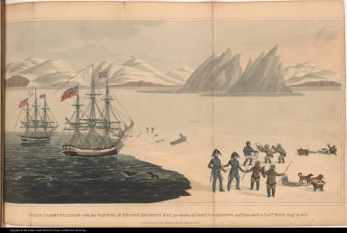 First Communications with the Natives of Prince Regents Bay, as Drawn by John Sackheouse, and Presented to Capt. Ross, Augt. 10, 1818.