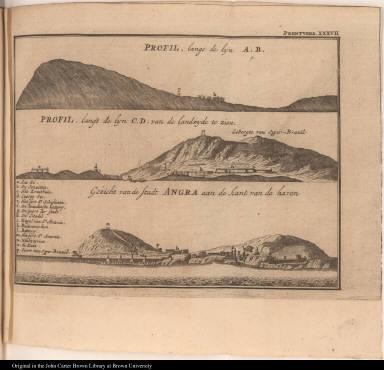 [top] Profil, langs de lyn A. B. [middle] Profil, langs de lyn C. D. van de landzyde te zien. [bottom] Gizicht van de Stadt Angra aan de kant van de haven
