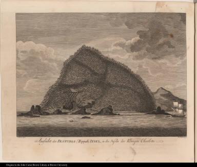 Aussicht der Festungs (Hippah) Insel, in den Inseln der Königin Charlotte.