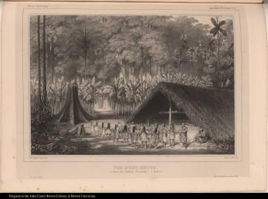 Vue d'une hutte, et danse des Indiens Yuracarès. (Bolivia.)