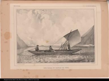 Una balsa ou bateau de jonc. sur le Lac de Titicaca. (Bolivia.)