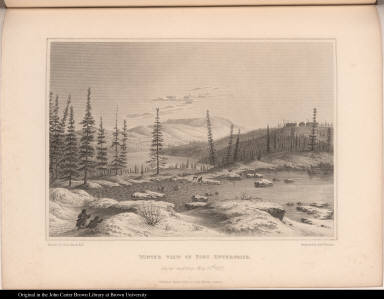 Winter View of Fort Enterprize. Snow melting May 13th. 1821.