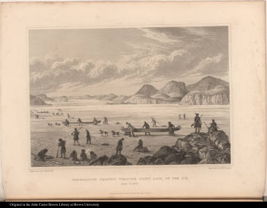 Expedition Passing through Point Lata [Lake?] on the Ice. June 25. 1821.