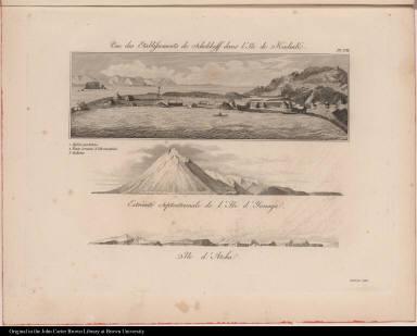 [top] Vue des Etablissements de Schelikoff dans l'Ile de Kadiak. [center] Extrémité Septentrionale de l'Ile d'Yanaga. [bottom] Ile d'Atcha.