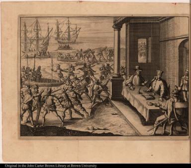 [Francisco Pizarro, Diego de Almagro, and Hernando de Lugue divide up Peru]