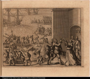[Francisco Pizarro and Diego de Almagro swear an oath on the host held by Hernando de Lugue]