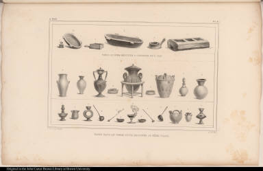[top] Vases en Bois Destinés a Contenir de l'Eau. [bottom] Vases Faits en Terre Cuite Destinés au Même Usage.