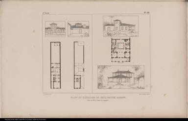 Plans et Elévations de Deux Petites Maisons. l'une de ville et l'autre de campagne.