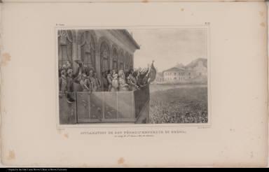 Acclamation de Don Pédro 1er. Empereur du Brésil, au camp de Sta. Anna, à Rio-de-Janeiro.