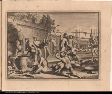 [Native Americans prepare to eat a captive]