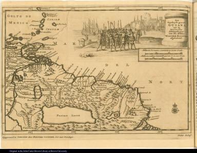 Het Goudryk gewest Guiana, tot de Drywerfze Scheepstogten van den Ridder Walter Ralegh afgebakend.