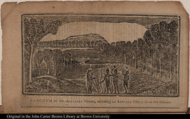 A sachem of the Abenakee Nation, rescuing an English Officer from the Indians