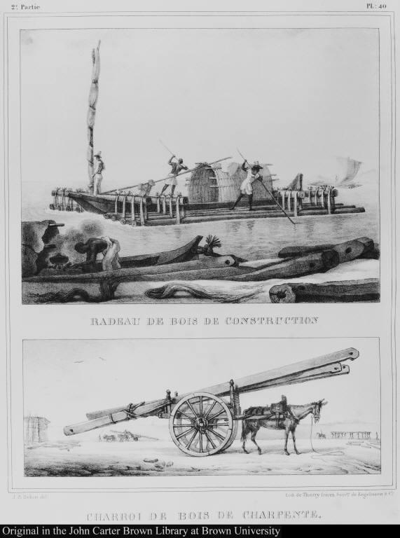 [top] Radeau de bois de construction. [bottom] Charroi de bois de charpente.
