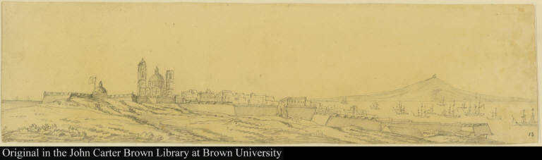 [View of the town of Montevideo, Uruguay, and its fortifications]