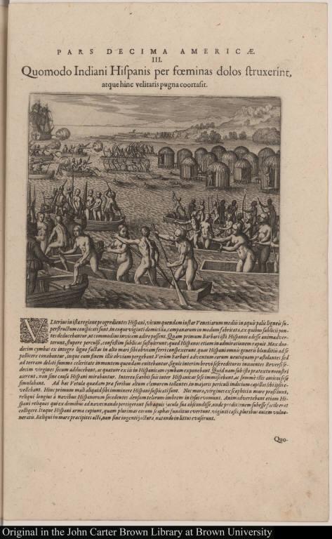 Quomodo Indiani Hispanis per foeminas dolos struxerint, atque hinc velitaris pugna coortasit.