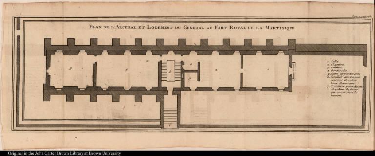 Plan de l'Arcenal et Logement du General au Fort Royal de la Martinique