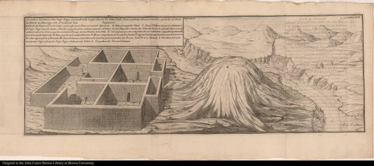 [View of native American palace near a mountain and river.]