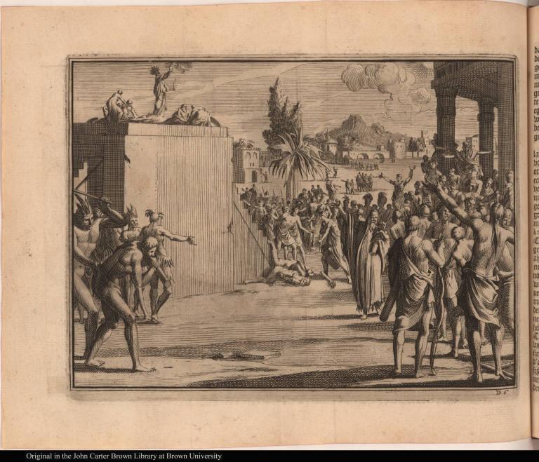 [Scene of sacrifice at an Aztec temple]