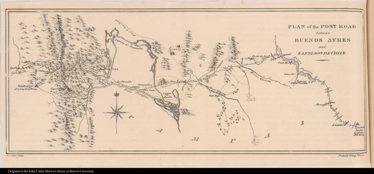 Plan of the Post Road between Buenos Ayres and Santiago de Chile.