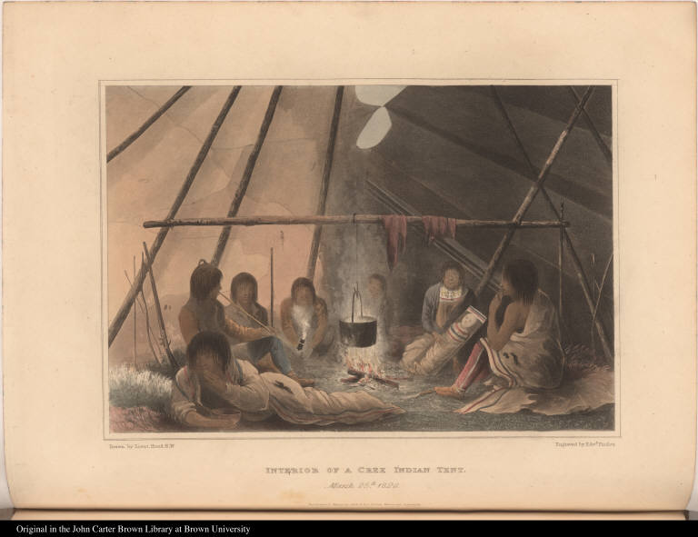 Interior of a Cree Indian Tent. March 25th. 1820.