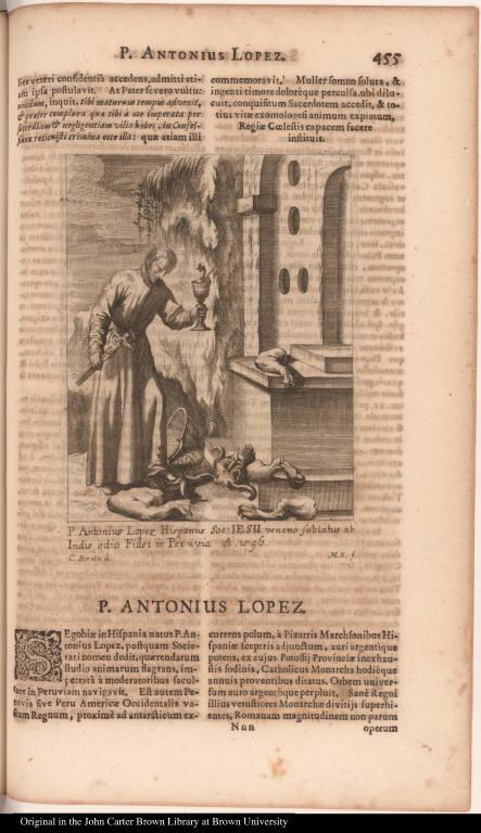 P. Antonius Lopez Hispanus Soc: Iesu veneno sublatus ab Indis odio Fidei in Peruvia A. 1596.