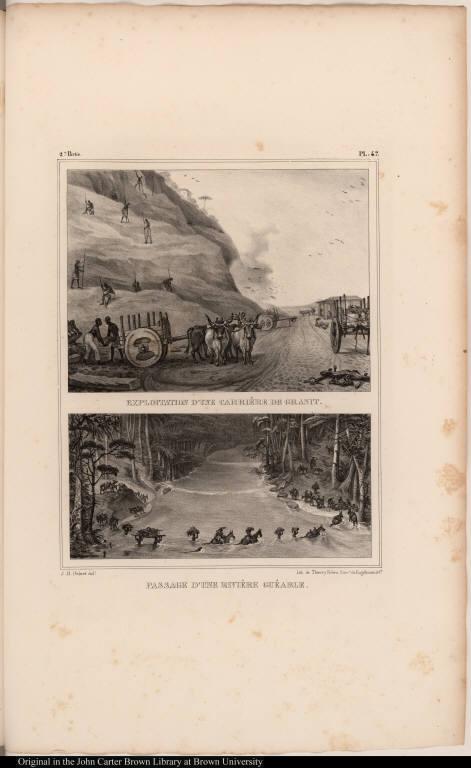 [top] Exploitation d'une Carrière de Granit. [bottom] Passage d'une Rivière Guéable.