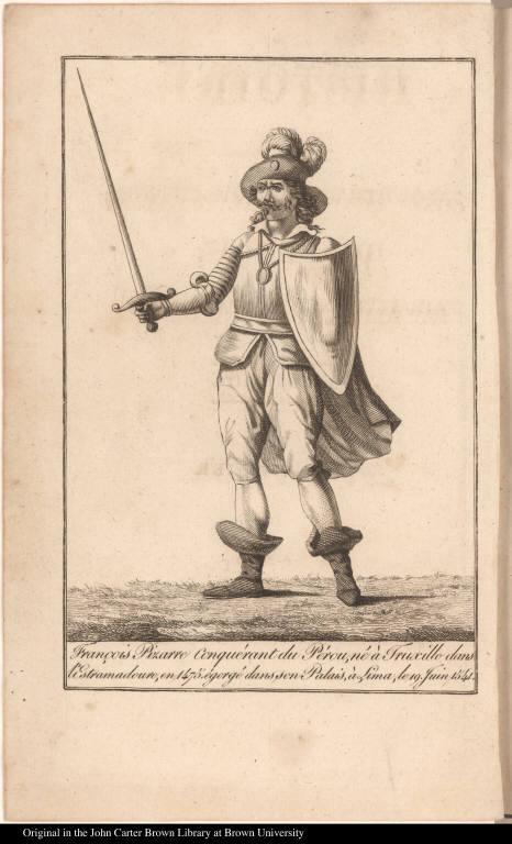 François Pizarre Conquérant du Pérou, né à Truxillo dans l'Estramadoure, en 1475. égorgé dans son Palais, à Lima, le 19 Juin 1541.