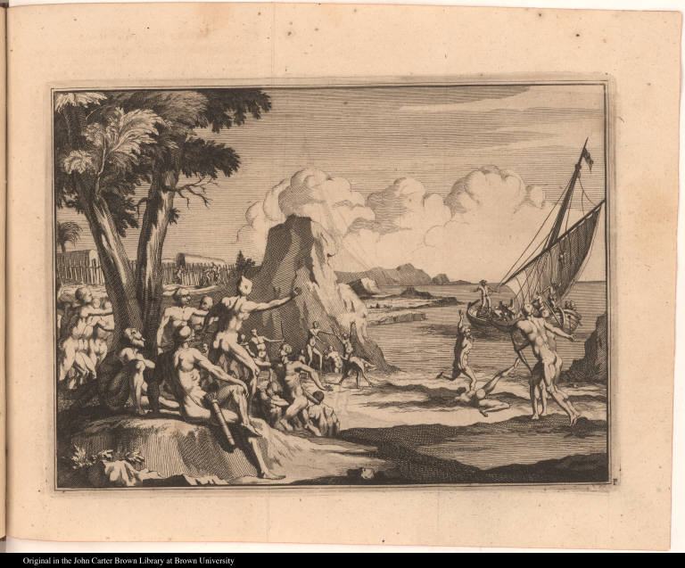 [Native Americans see the approach of a European ship]
