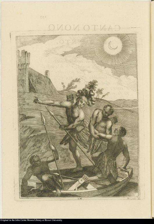 [Native Americans disembark from boat at night]