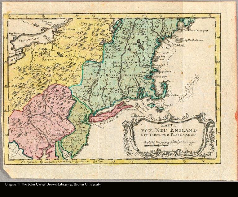 Karte van Neu England Neu Yorck und Pensilvanien