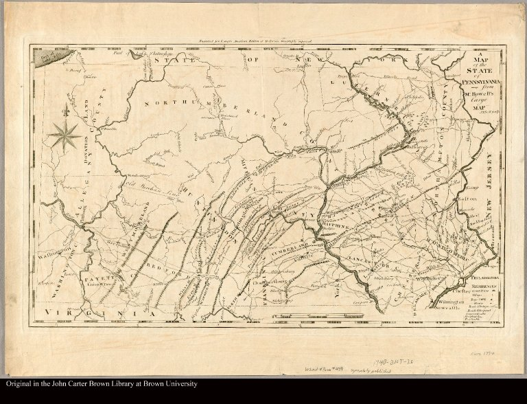 A map of the State of Pennsylvania from Mr. Howell's large map