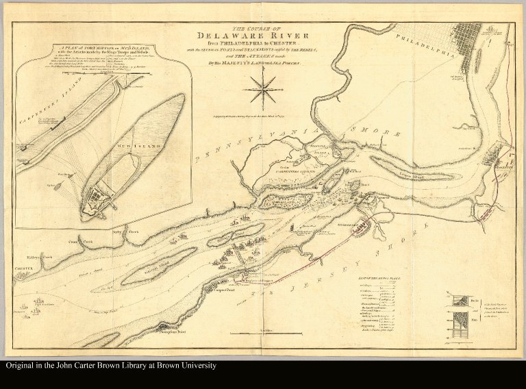 The course of Delaware River from Philadelphia to Chester with the several forts and stackadoes raised by the rebels, and the attacks made by his majesty's land and sea forces