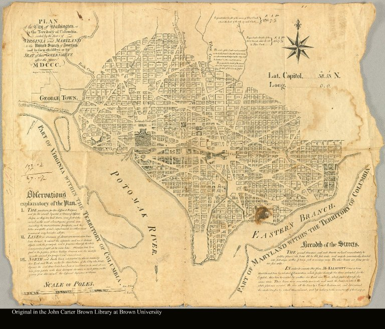 Plan of the City of Washington in the territory of Columbia ceded by the States of Virginia and Maryland to the United States of America and by them established as the seat of their government after the year MDCCC