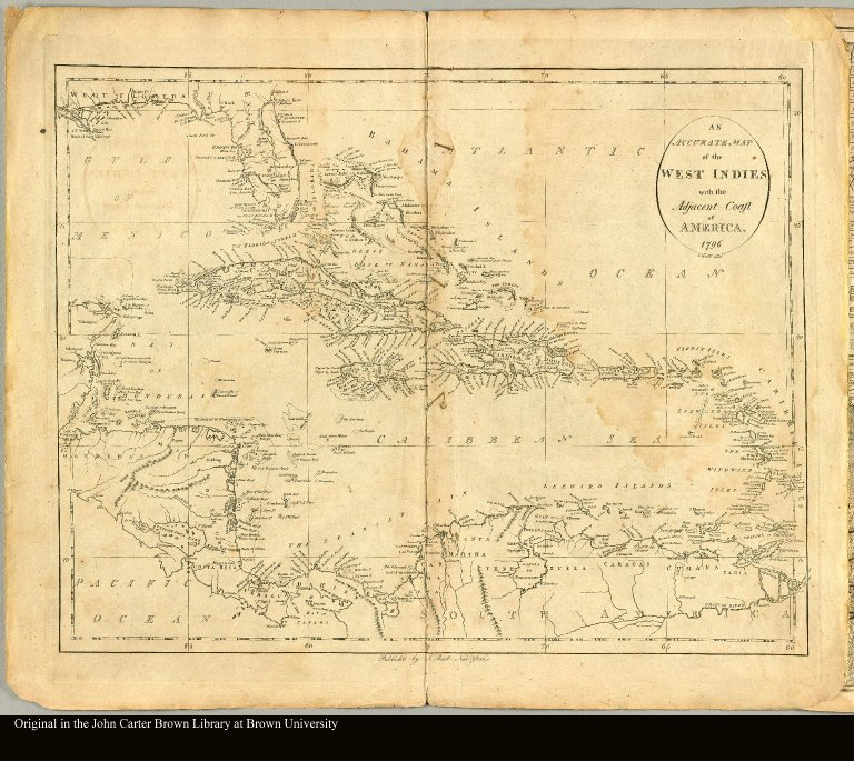 An accurate map of the West Indies with the adjacent coast of America D. Martin sculpt
