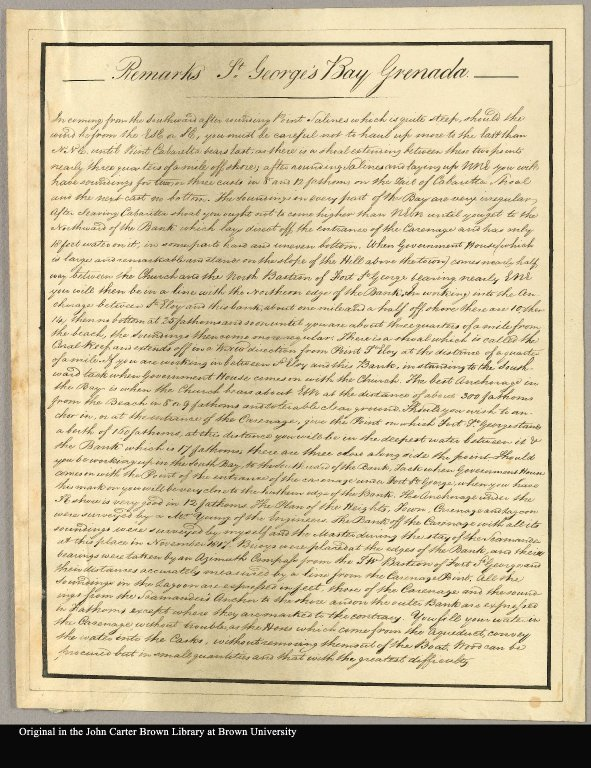 """Remarks St. George's Bay Grenada [accompanies """"Plan of the town and heights and a survey of the bay, carenage and lagoon of St. George's Grenada. 1817""""]"""
