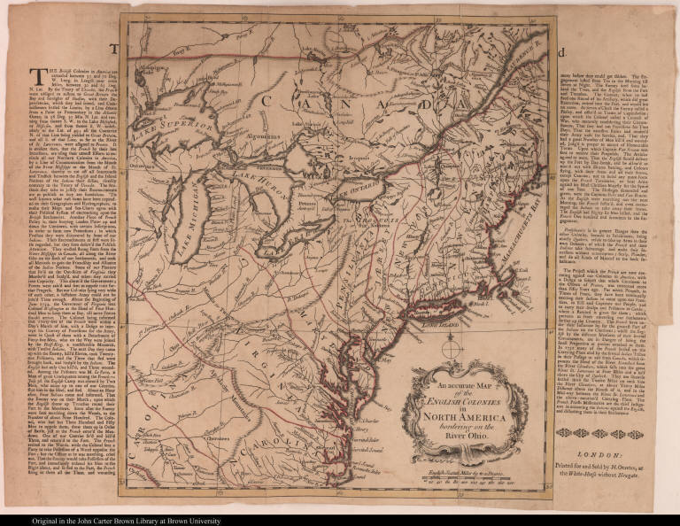 An accurate Map of the English Colonies in North America bordering on the River Ohio.