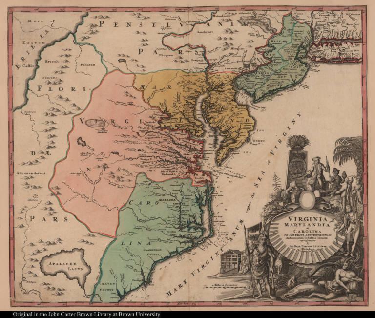 Virginia Marylandia et Carolina in America septentrionali Britannorum industria excultae