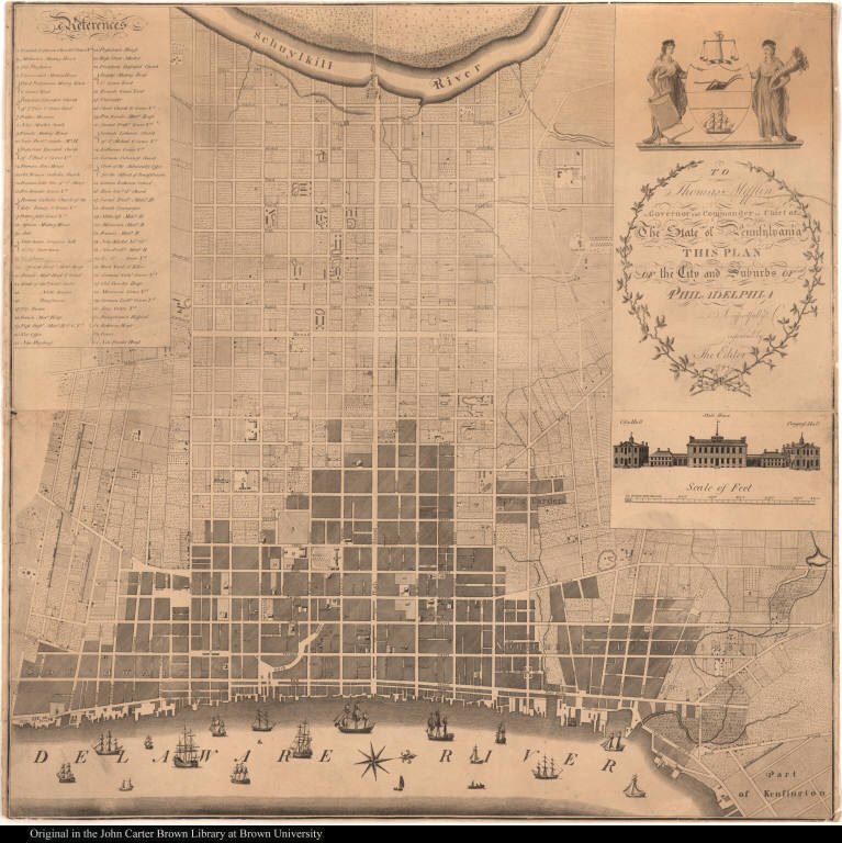 To Thomas Mifflin Governor and Commander in Chief of The State of Pennsylvania This Plan of the City and Suburbs of Philadelphia Is respectfully incribed by The Editor.