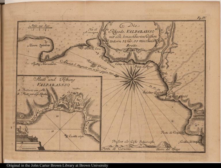 Die Rheed Valparaisso mit den benachbarten Cüsten Unterm 32 Gr. 55 min. Süder-Breite.