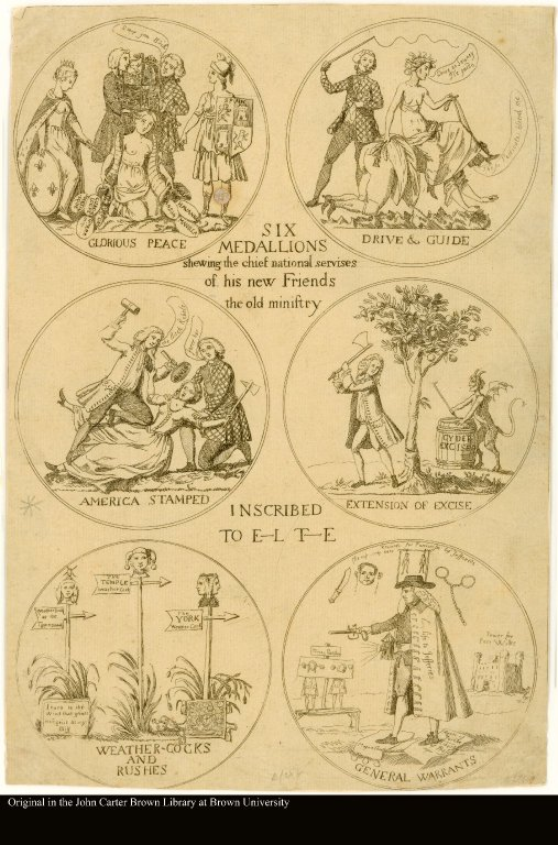 SIX MEDALLIONS shewing the chief national servises of his new Friends the old ministry. Inscribed to E[ar]l T[empl]e.