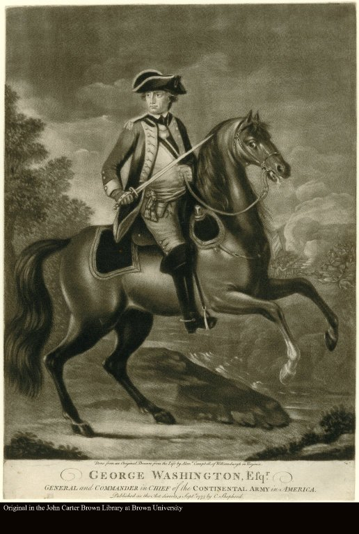 GEORGE WASHNGTON, ESQR. GENERAL and COMMANDER in CHIEF of the CONTINENTAL ARMY in AMERICA.