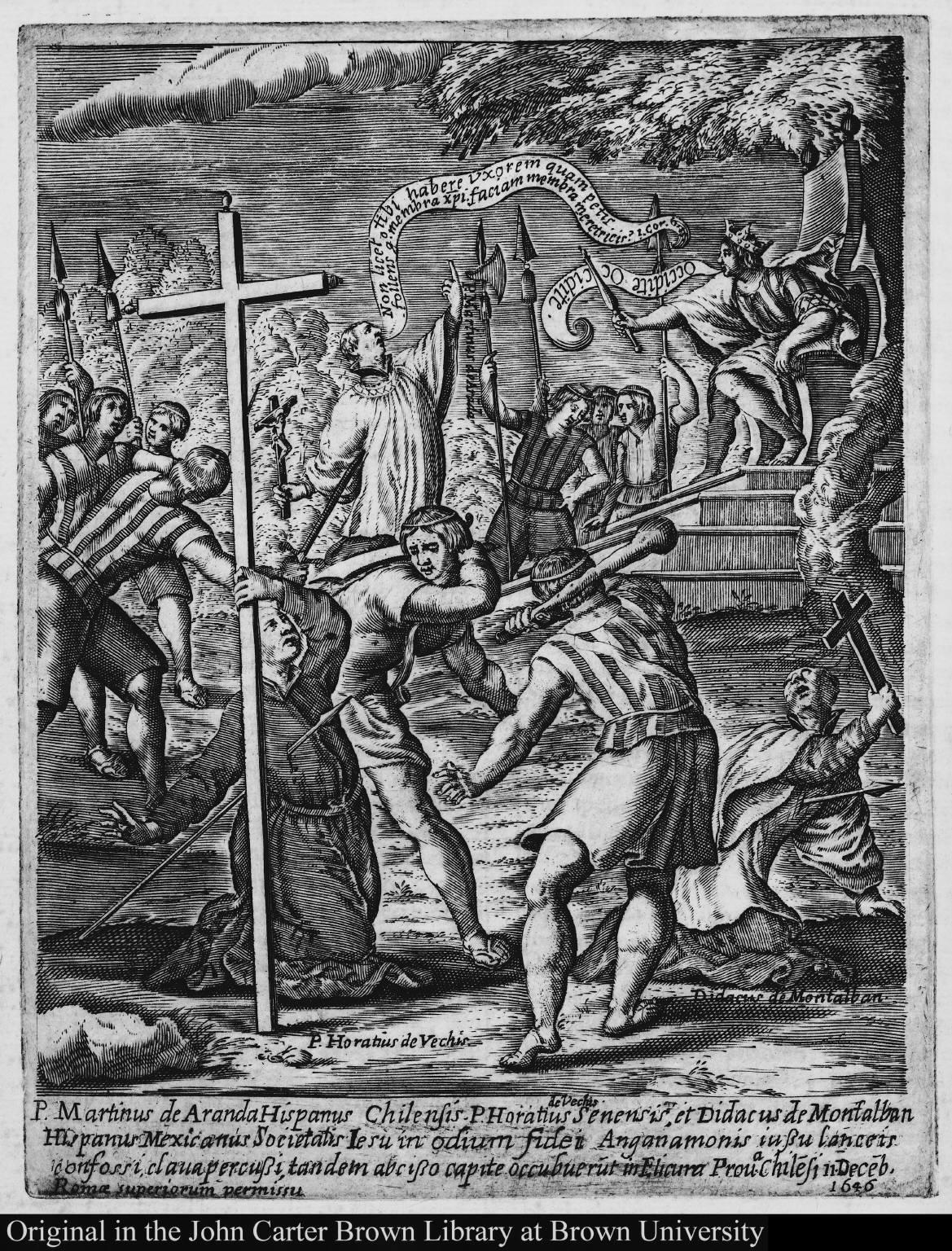 P. Martinus de Aranda Hispanus Chilensis P Horatius de Vechis Senens, et Didacus de Montalban Hispanis Mexicanus Societatis Iesu ...11 Deceb. 1646