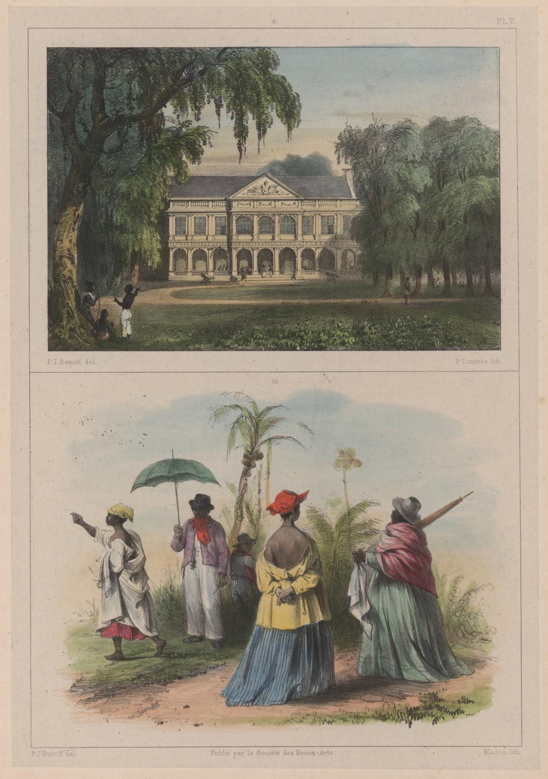 9. Vue du palais du gouverneur, du côté de la Place d'Armes. 10. Costumes créoles et nègres.