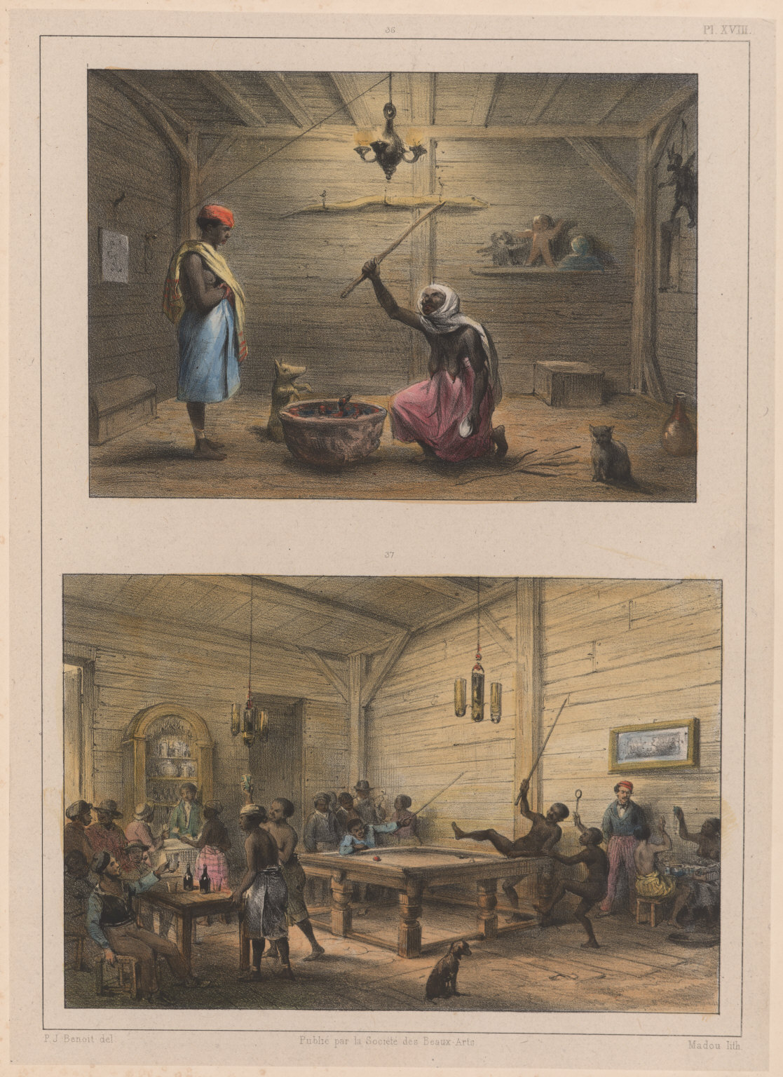 36. La Mama-snekie, ou water-mama, faisant ses conjurations. 37. Négres s'amusant à jouer au billard.