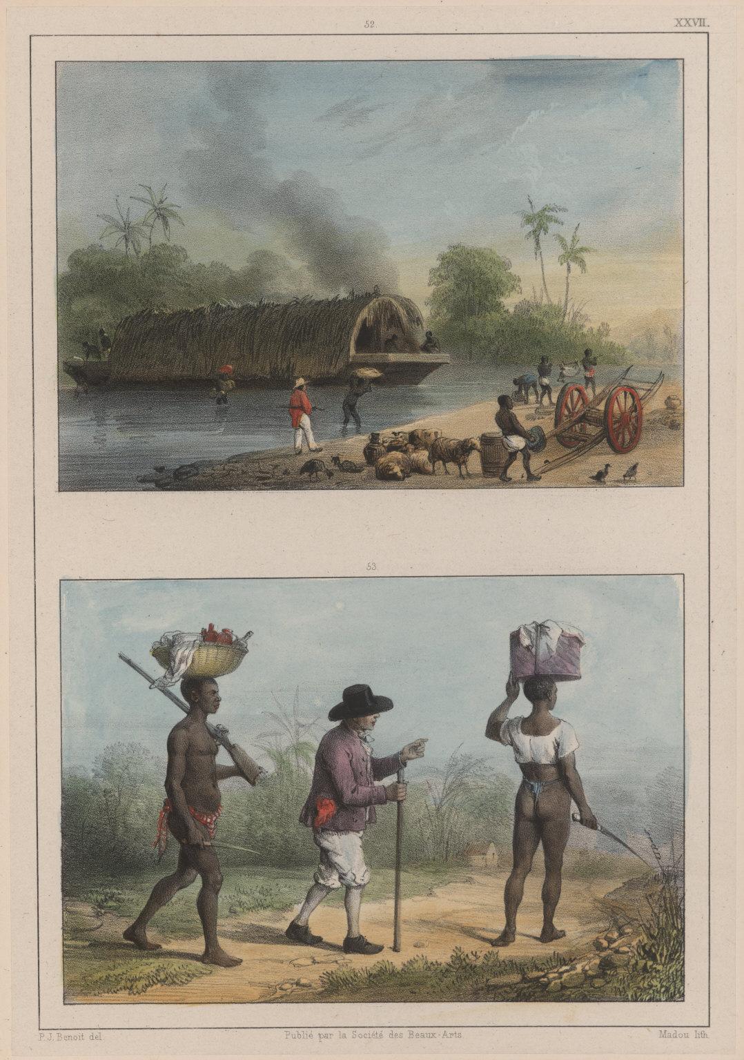 52. Pont, ou embarcation. 53. Planteurs se rendant à une plantation voisine.