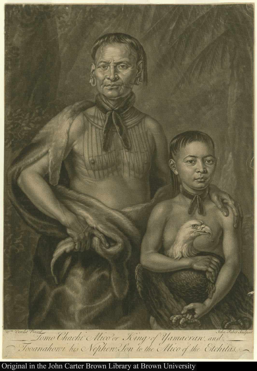 Tomo Chachi Mico or King of Yamacraw, and Tooanahowi his Nephew, son to the Mico of the Etchitas.