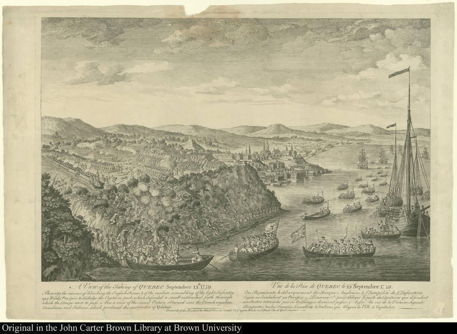 A View of the Taking of Quebec September 13th. 1759. Shewing the manner of debarking the English Forces ...Vüe de la Prise de Quebec le 13 Septembre 1759. Qui Représente de débarquement des Troupes Angloise ...